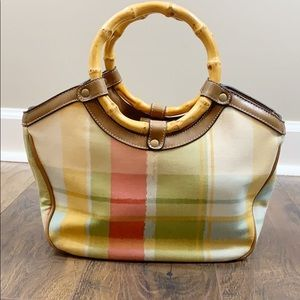 Relic plaid bamboo handle tote
